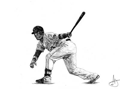 World Series Drawing - Salvador Perez by Joshua Sooter