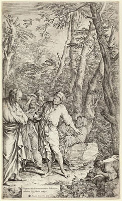 Diogenes Drawing - Salvator Rosa Italian, 1615 - 1673, Diogenes Casting Away by Quint Lox