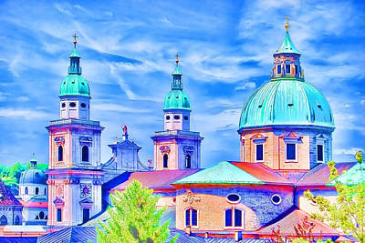 Building Exterior Digital Art - Salzburg Austria by Sabine Jacobs