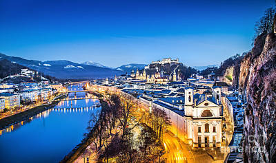 Christmas Holiday Scenery Photograph - Salzburg Blue Hour by JR Photography