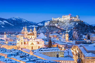 Salzburg In Winter Art Print by JR Photography