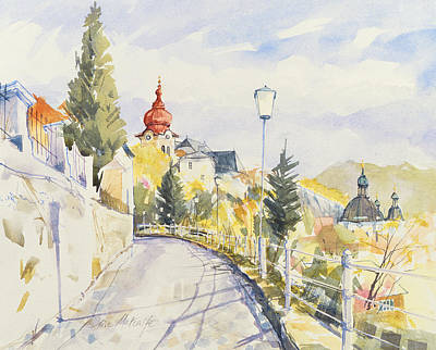 Street Lamps Drawing - Salzburg Nonntal  by Clive Metcalfe