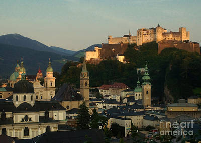 Photograph - Salzburg Old Town At Sunset by Rudi Prott