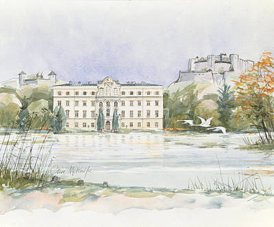 Swan Drawing - Salzburg Sound Of Music  by Clive Metcalfe