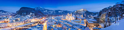 Medieval Photograph - Salzburg Winter Christmas Panorama by JR Photography