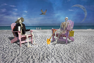 Human Skeleton Photograph - Sam And His Friend Visit Long Boat Key by Betsy Knapp