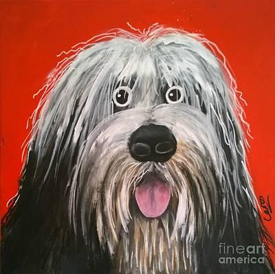 Dog Caricature Painting - Sam The Dog by Caroline Peacock