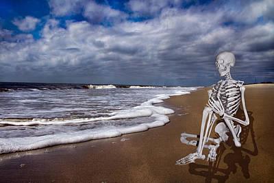 Human Skeleton Digital Art - Sam Looks To The Ocean by Betsy Knapp