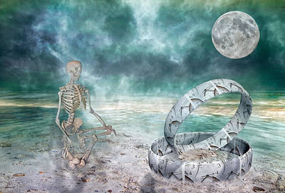 Skeleton Digital Art - Sam Meditates With Time One Of Two by Betsy Knapp