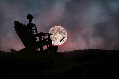 Bird Skeleton Photograph - Sam Reasons With The Moon by Betsy Knapp