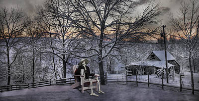 Fence Digital Art - Sam Visits Winter Wonderland by Betsy Knapp