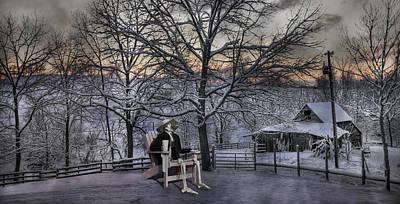 Vintage Chair Digital Art - Sam Visits Winter Wonderland by Betsy Knapp