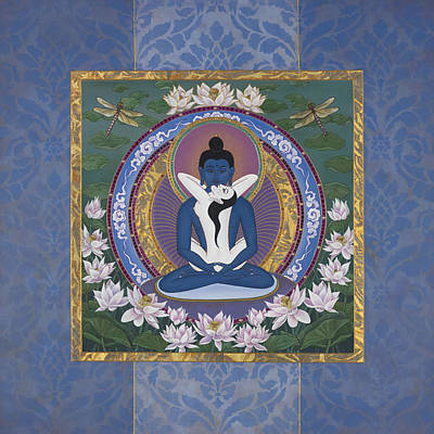 Buddhist Painting - Samantabadhra In The Beginning by Nadean OBrien