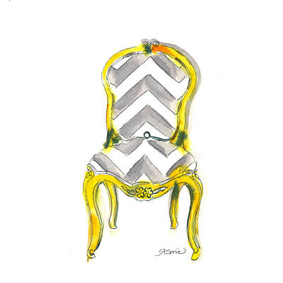 Chairs Painting - Samantha Chevron Chair by Roleen  Senic