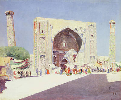 Central Asia Photograph - Samarkand, 1869-71 Oil On Canvas by Vasili Vasilievich Vereshchagin