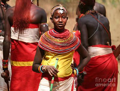 East Africa Photograph - Samburu Girl Dancing With Warriors by Liz Leyden