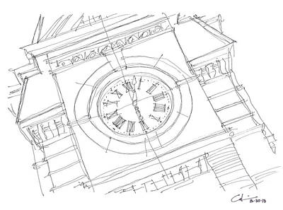 Drawing - Samford Clock Sketch by Calvin Durham