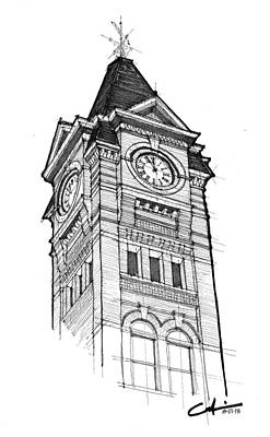 Drawing - Samford Hall by Calvin Durham
