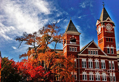 Samford Hall In The Fall Print by Victoria Lawrence