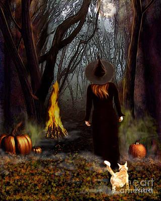 Samhain Painting - Samhain Witch by Kami Catherman