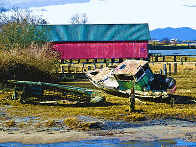 Samish Island Abandoned Boat Print by John Parks