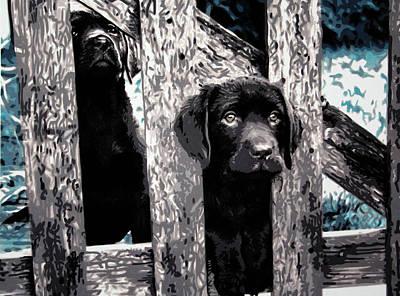 Chocolate Labrador Retriever Painting - sammy And Rosie by Sarah Hood