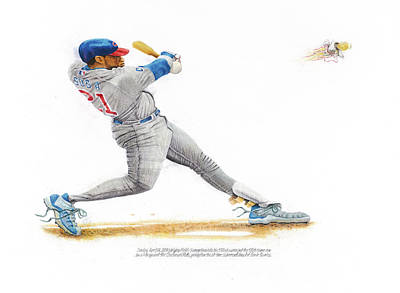 Chicago Cubs Drawing - Sammy Sosa by Ken Hank