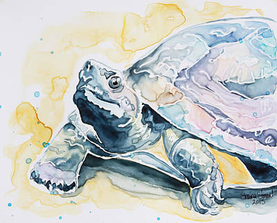 Watercolor Pet Portraits Painting - Sammy The Turtle by Shaina Stinard