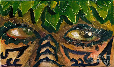 Painting - Samoan Eyes by Donna Chaasadah