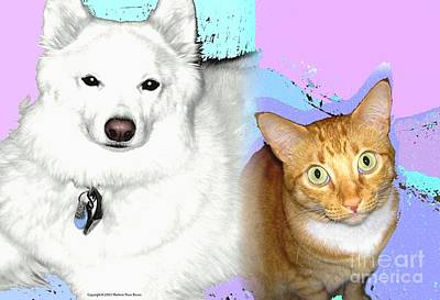Digital Art - Samoyed And Tabby Pet Portrait by Marlene Rose Besso