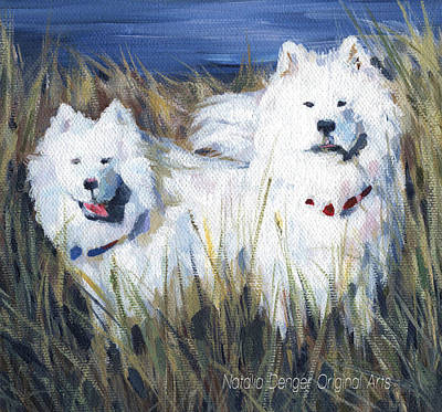 Painting - Samoyed Dogs by Natasha Denger