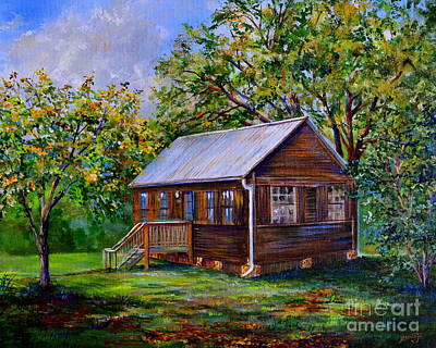 Cabin Window Painting - Sams Cabin by AnnaJo Vahle