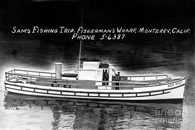 Photograph - Sams Fishing Trips Fishermens Wharf Monterey California Circa 1950 by California Views Archives Mr Pat Hathaway Archives