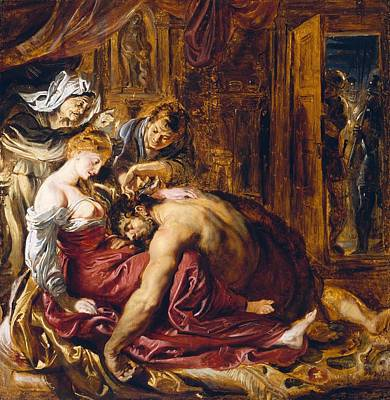 Samson And Delilah, C.1609 Oil On Panel Art Print by Peter Paul Rubens