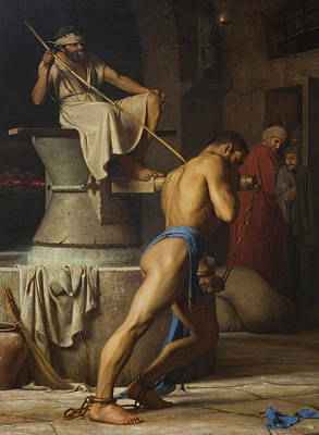 Samson And The Philistines Print by Carl Bloch