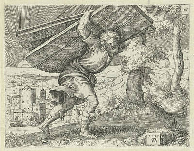 Gaza Drawing - Samson Carrying The Gates Of Gaza, Print Maker Cornelis by Cornelis Massijs