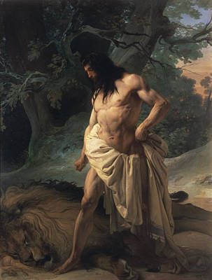 Drapery Painting - Samson Slays The Lion by Francesco Hayez