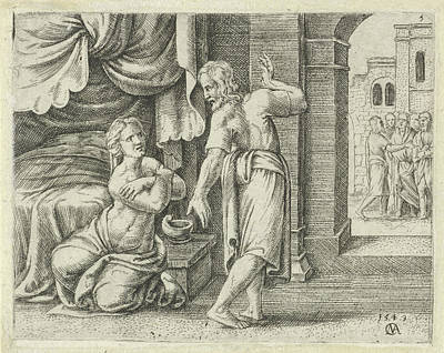 Weeping Drawing - Samsons Wife Begs Him To Reveal The Solution To The Riddle by Cornelis Massijs