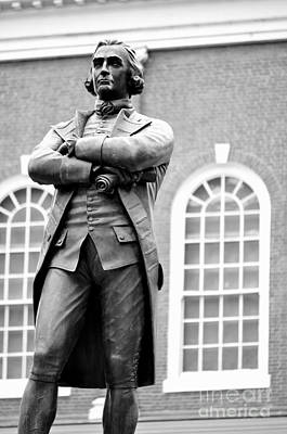 Photograph - Samuel Adams Statue State House Boston Ma Black And White by Staci Bigelow