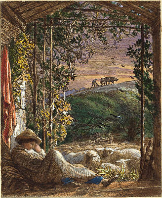 Opaque White Drawing - Samuel Palmer, British 1805-1881, The Sleeping Shepherd by Litz Collection