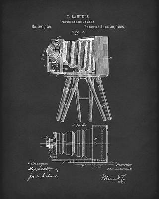 Drawing - Samuels Photographic Camera 1885 Patent Art Black by Prior Art Design