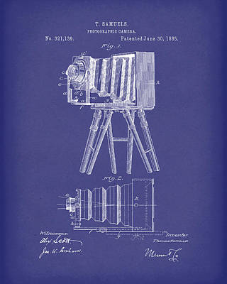 Drawing - Samuels Photographic Camera 1885 Patent Art Blue by Prior Art Design