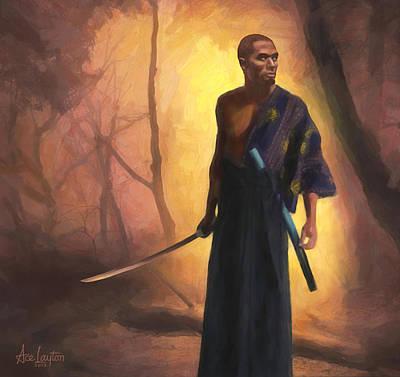Contemplative Painting - Samurai Dawn by Ace Layton