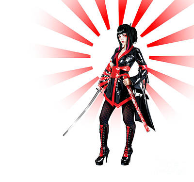 Drawing - Samurai Elisanth V2 by Brian Gibbs