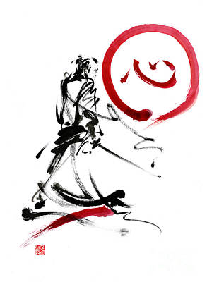 Black And White Art Painting - Samurai Enso Circle Wild Fury Bushi Bushido Martial Arts Sumi-e  by Mariusz Szmerdt