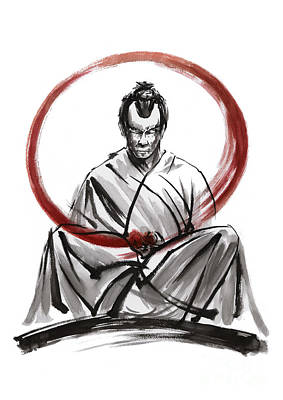 Kendo Wall Art - Painting - Samurai Enso. by Mariusz Szmerdt