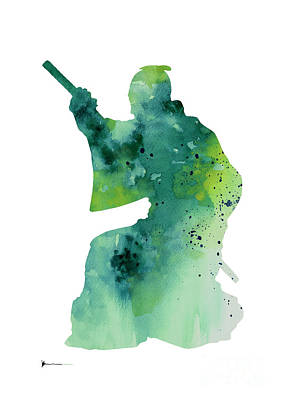 Samurai Mixed Media - Samurai Figurine Silhouette Large Poster by Joanna Szmerdt