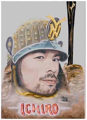 New York Yankees Drawing - Samurai Ichiro by Bas Van Sloten
