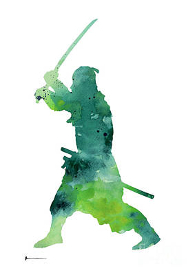 Samurai Mixed Media - Samurai Katana Silhouette Watercolor Art Print by Joanna Szmerdt