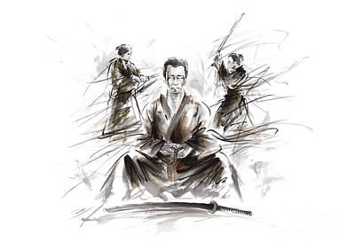 Samurai Painting - Samurai Meditation. by Mariusz Szmerdt